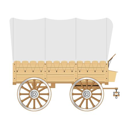 Wild west wagon vector illustration isolated on white background
