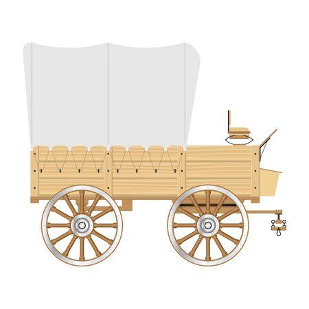 Wild west wagon vector illustration isolated on white background