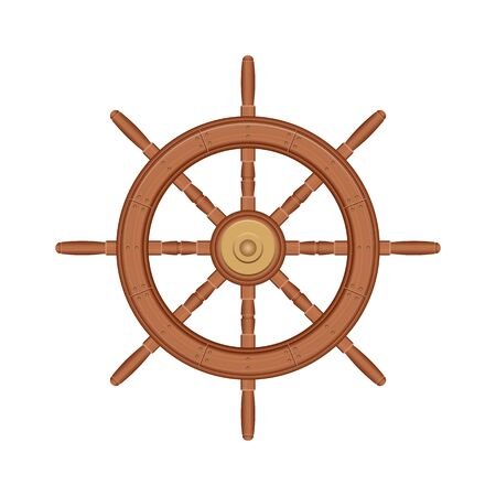 Wooden ship wheel vector illustration isolated on white background  イラスト・ベクター素材