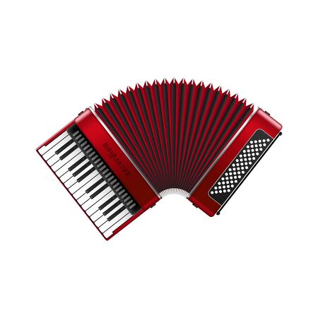 Realistic accordion vector illustration isolated on white background