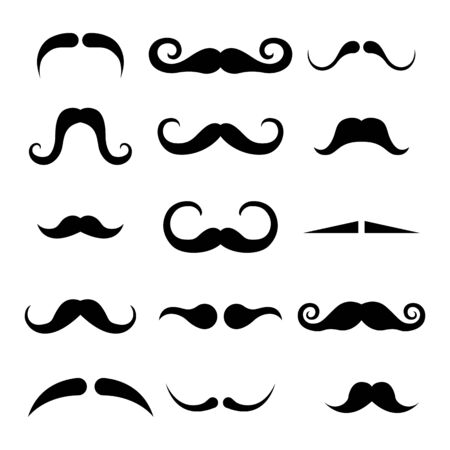 Set of black mustache vector illustration isolated on white background