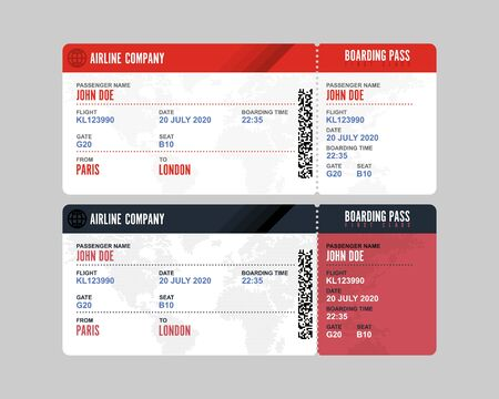 Boarding pass vector illustration isolated on white background  イラスト・ベクター素材