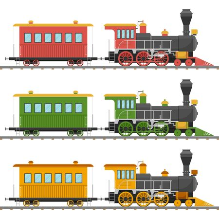 Vintage steam locomotive and wagon vector illustration isolated Vectores