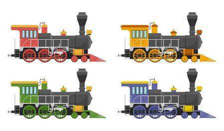 Vintage steam locomotive vector illustration isolated on white background