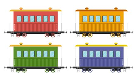 Set of train wagons vector illustration isolated on white background