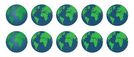 Earth globe set vector illustration isolated