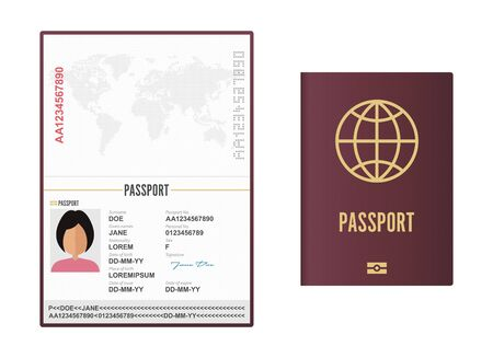 Opened and closed female passport vector illustration isolated