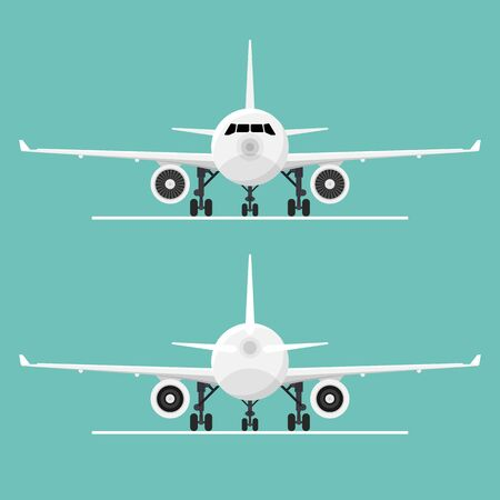 Front and back view of airplane vector illustration