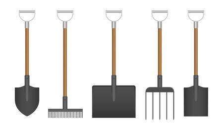 Garden tools set vector illustration isolated on white background