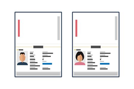 Opened and closed male and female passport vector illustration isolated Vectores