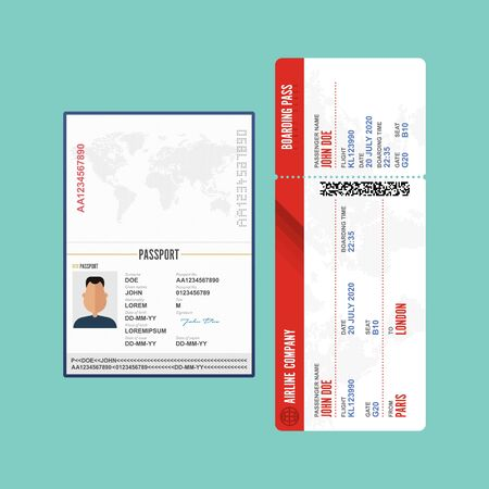 Male passport and boarding pass vector illustration  イラスト・ベクター素材