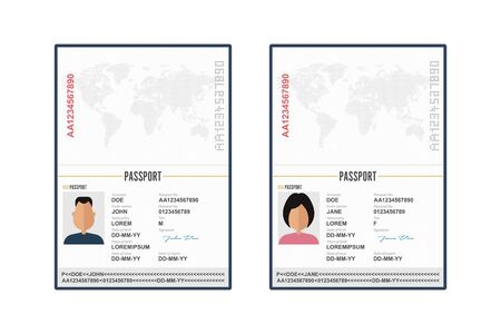 Opened and closed male and female passport vector illustration isolated  イラスト・ベクター素材