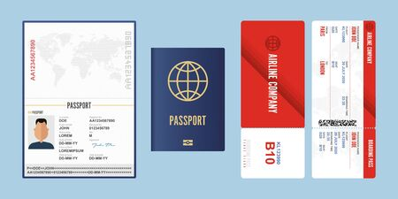 Passport and boarding pass vector illustration