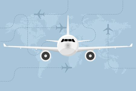 Travel concept background with plane and world map