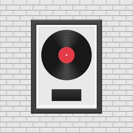 Vinyl record with black frame on white brick wall  イラスト・ベクター素材