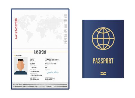 Opened and closed male passport vector illustration isolated Vectores