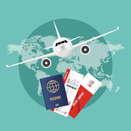 Air plane travel concept vector illustration