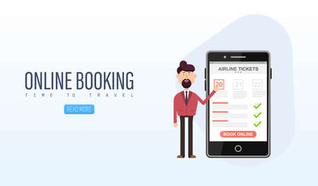 Book your flight online concept vector illustration