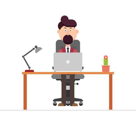 Businessman working at desk vector illustration in flat design
