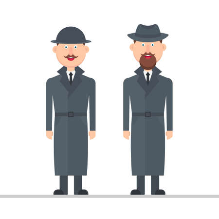 Detective character vector illustration isolated on white background