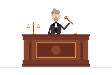 Judge character in courtroom with gavel in his left hand vector illustration Vectores