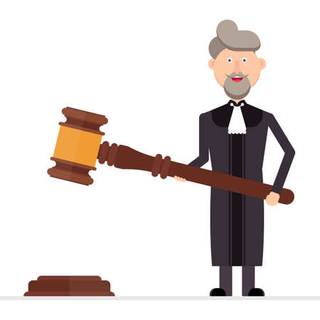Judge character holding a gavel in his hands vector illustration Vectores