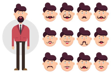 Man character with different types of mustache vector illustration