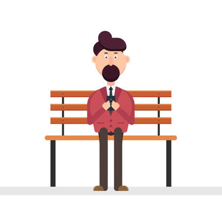Man character using smarphone on the bench vector illustration