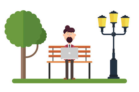 Man character working on the bench in the park vector illustration Foto de archivo - 153595053