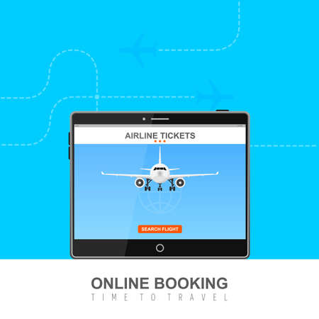 Online flight booking on screen vector illustration Vectores