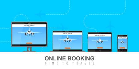 Online flight booking on screen vector illustration Foto de archivo - 153595068