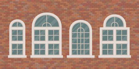 Retro windows on brick wall vector illustration Vectores