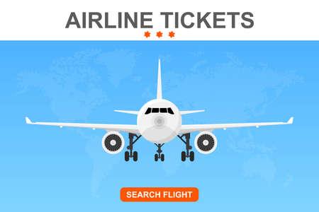 Online flight booking banner vector illustration