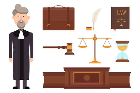 Set of judge character and law elements vector illustration