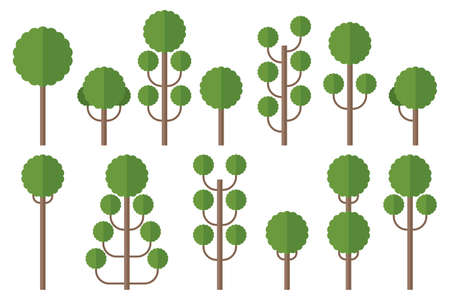 Set of green flat trees vector illustration isolated on white Vectores