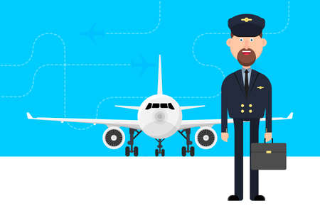 Travel concept background with plane and pilot vector illustration