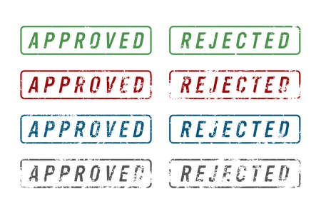 Stamp mark with approved and rejected text vector illustration Vectores