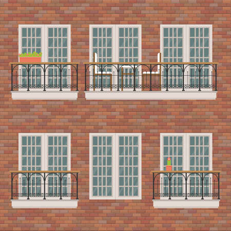 Balconies set on brick wall vector illustration Vectores