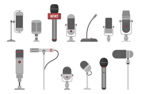 Set of different microphones vector illustration isolated on white