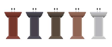 Wooden podium tribune vector illustration isolated on white