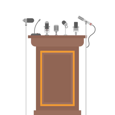 Podium tribune for speakers with microphones
