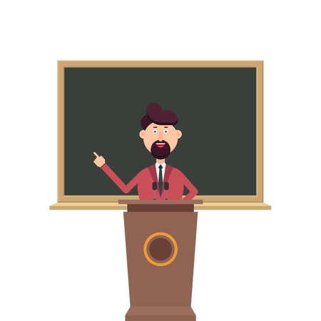 University teacher standing at the podium tribune in front of blackboard  イラスト・ベクター素材