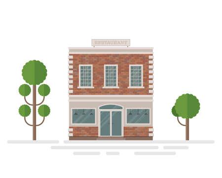 Restaurant brick building vector illustration