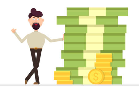 Businessman standing to a huge pile of money Vectores