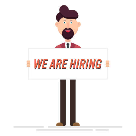 Happy businessman hold a banner with hiring text