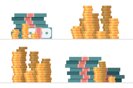 Set of piles of money vector illustration Foto de archivo - 153686549