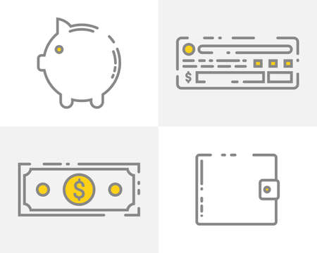Set of icons with money in flat style