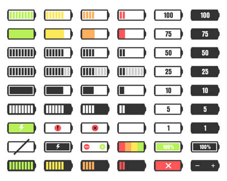Battery charge level set vector illustration Vectores