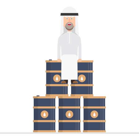 Arab businessman sits on oil barrels