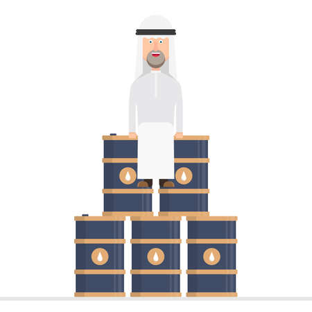 Arab businessman sits on oil barrels Foto de archivo - 153686553